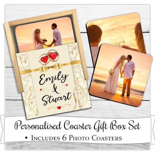 Personalised Wedding Engagement Anniversary Coaster Gift Box with 6 Photo Coasters N5